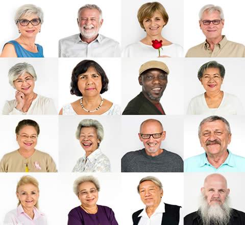 headshots of many elderly people