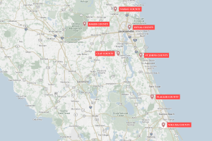 ElderSource Service Area Map showing Nassau, Baker, Duval, Clay, St Johns, Flagler and Volusia counties
