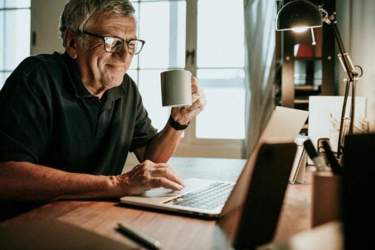 Elderly man on laptop