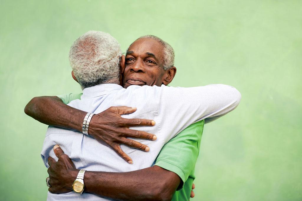 Grown Men Hugging